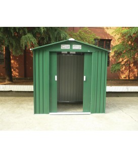 Caseta metálica Yorkshire con doble puerta y dos aguas 201x121x190