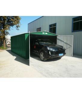 Garaje metálico verde oscuro con doble puerta y dos aguas 380 x420x 232